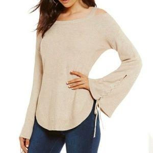 NWT GIANNI BINI Cold Shoulder Bell Sleeve Sweater